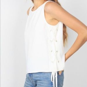 LOWEST Leigh Lace Up Tank Top in White